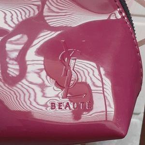 YSL Beaute cosmetic bag Fuschia patent leater type